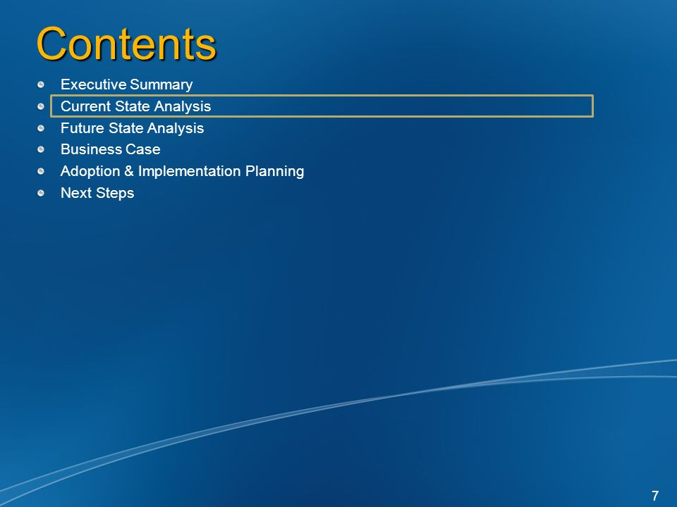 Contents Executive Summary Current State Analysis