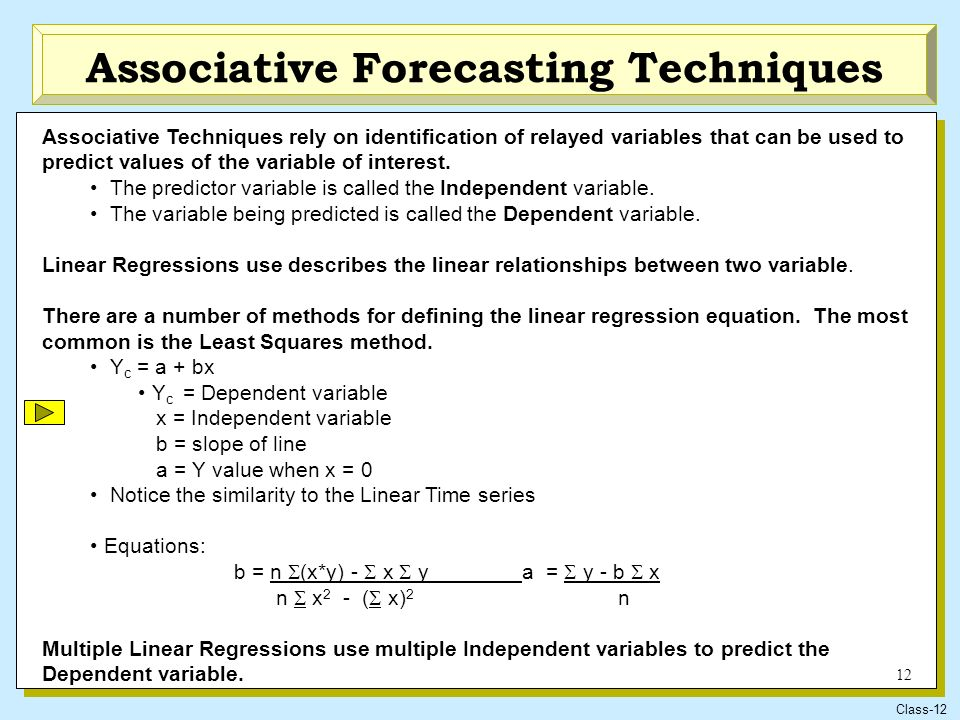 Regression analysis and associative forecasting methods