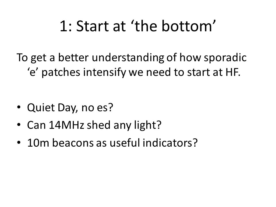 1: Start at 'the bottom' To get a better understanding of how sporadic 'e' patches intensify we need to start at HF.