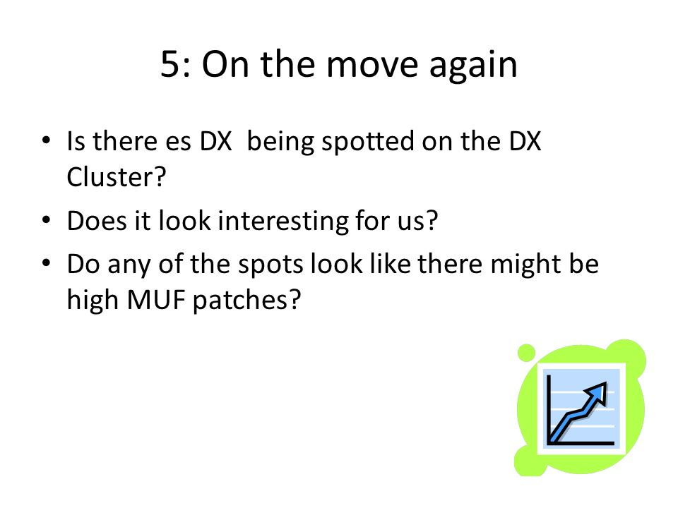 5: On the move again Is there es DX being spotted on the DX Cluster