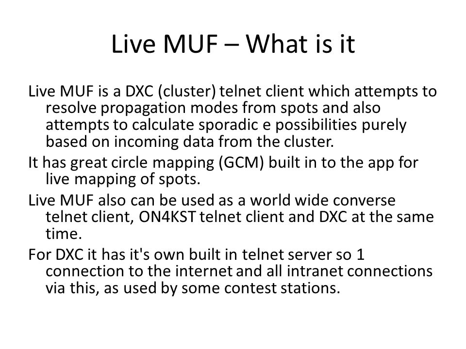Live MUF – What is it