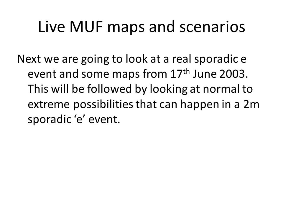 Live MUF maps and scenarios