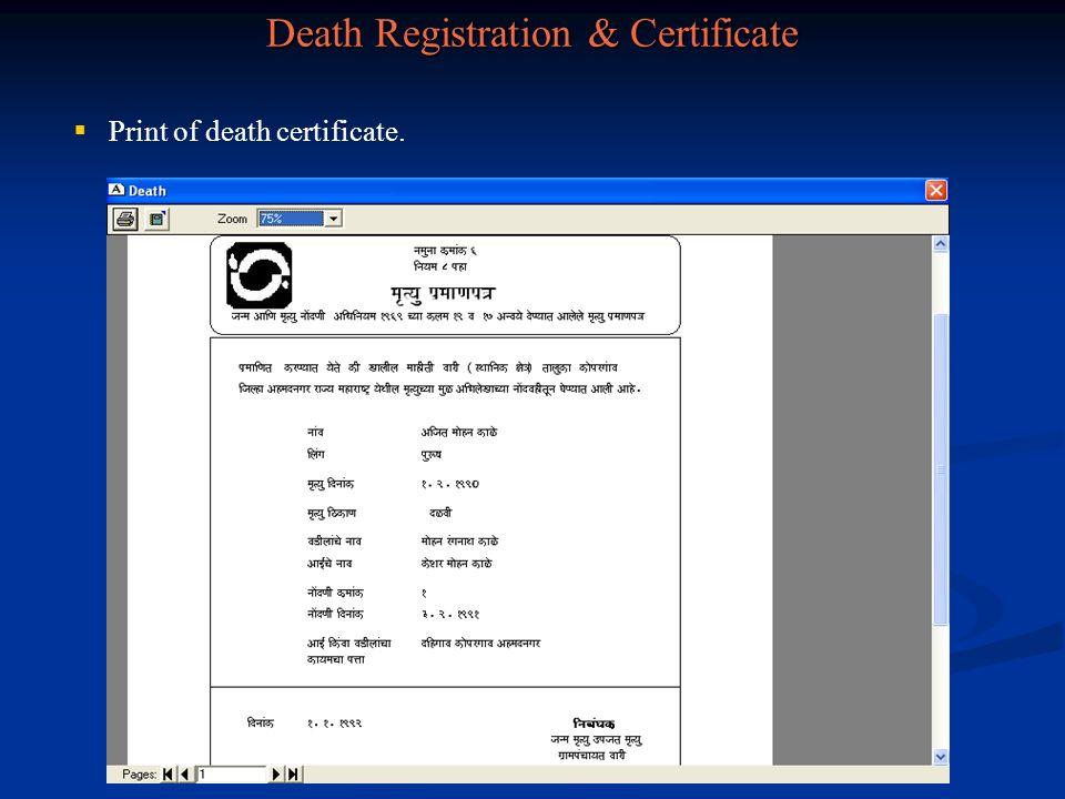 Death Registration & Certificate
