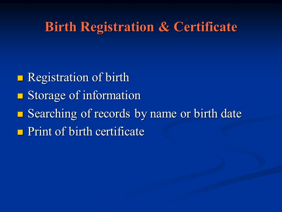 Birth Registration & Certificate