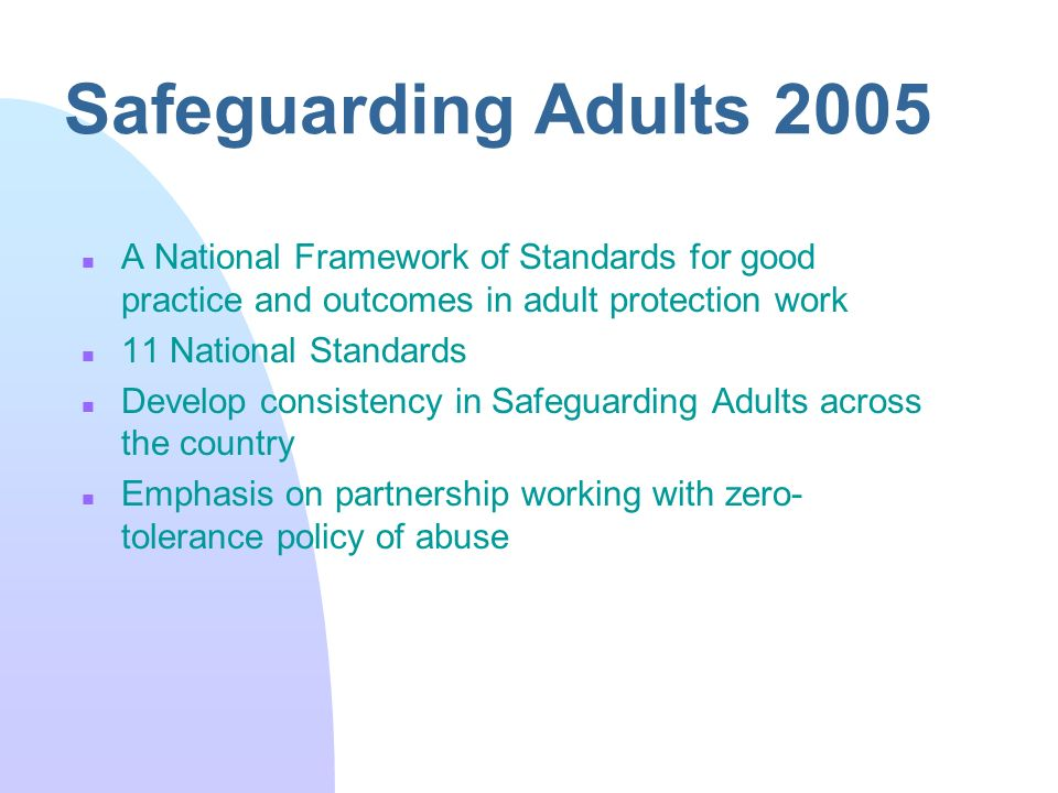safeguarding and protection of vulnerable adults 3 essay 1 understand the legislation, regulations and policies that underpin the protection of vulnerable adults 11 analyse the differences between the concept of safeguarding and the concept of protection in relation to vulnerable adults there is a difference between safeguarding vulnerable adults/children and adult/child protection.