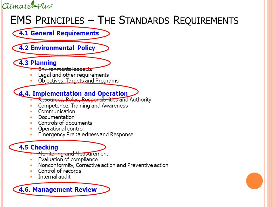 EMS Principles – The Standards Requirements