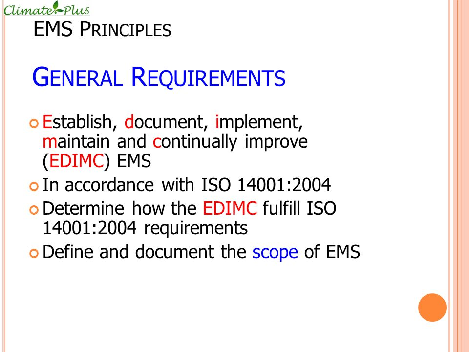 General Requirements EMS Principles