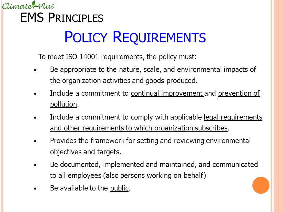 Policy Requirements EMS Principles