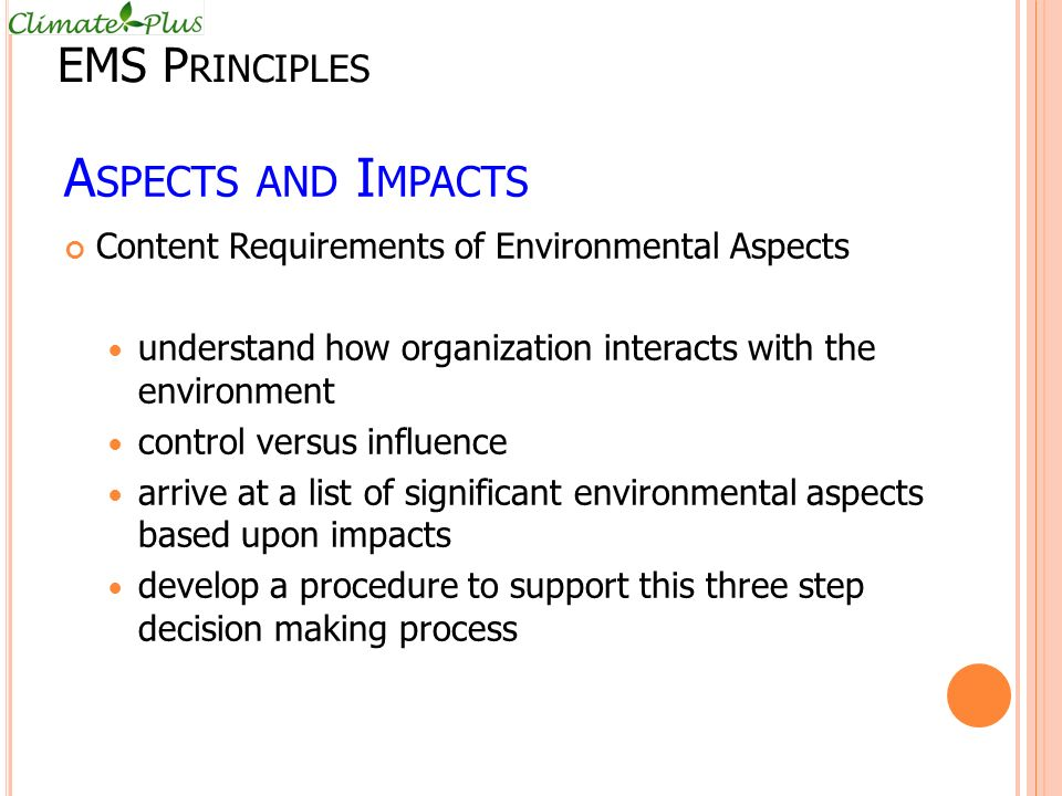 Aspects and Impacts EMS Principles