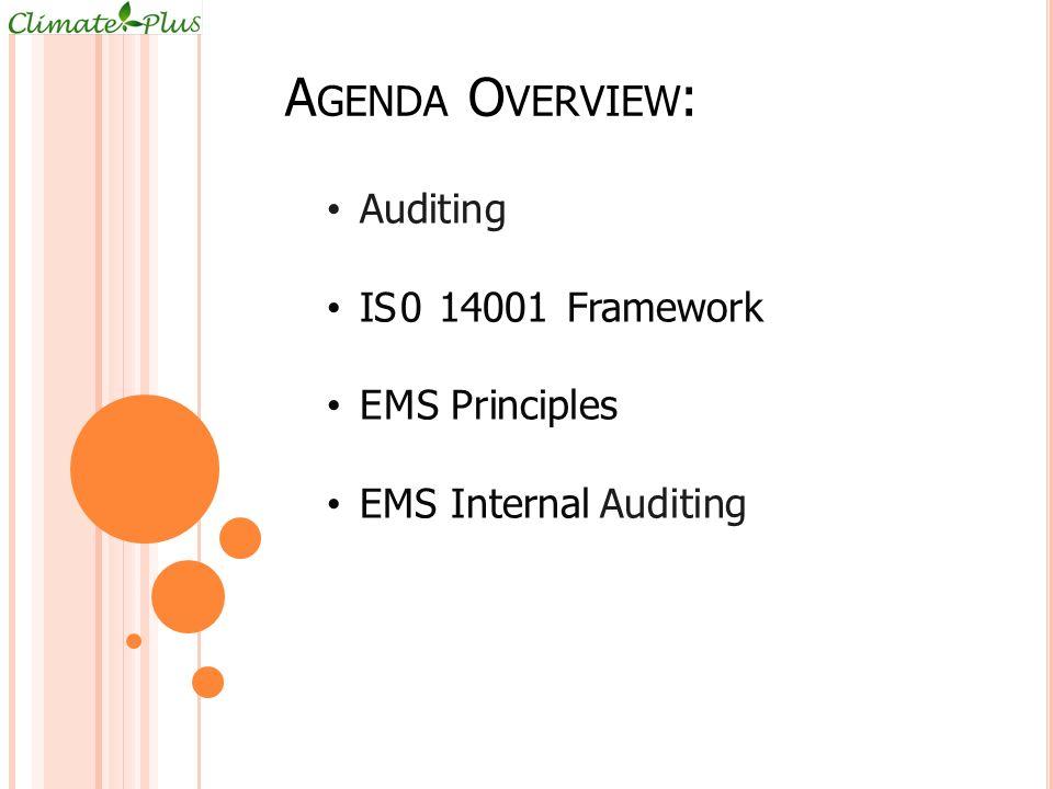 Agenda Overview: Auditing IS0 14001 Framework EMS Principles