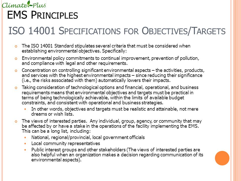 ISO 14001 Specifications for Objectives/Targets