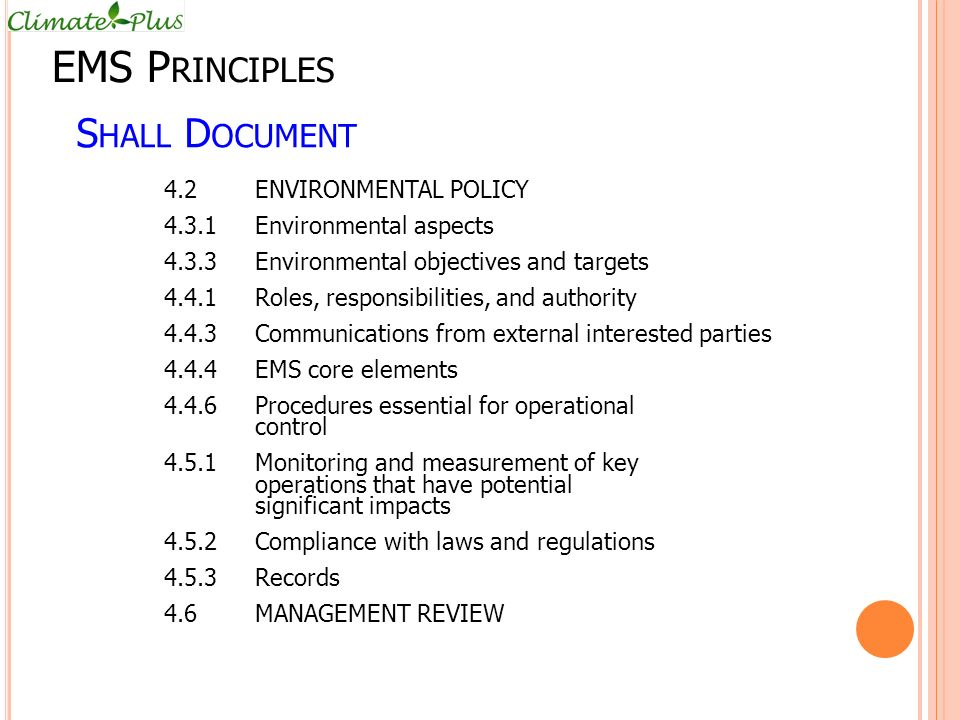 EMS Principles Shall Document 4.2 ENVIRONMENTAL POLICY