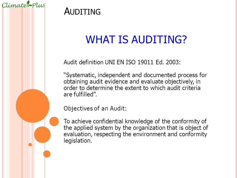 What is auditing Auditing Audit definition UNI EN ISO 19011 Ed. 2003: