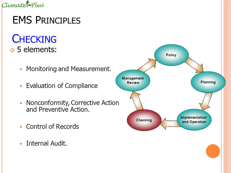 Checking EMS Principles 5 elements: Monitoring and Measurement.