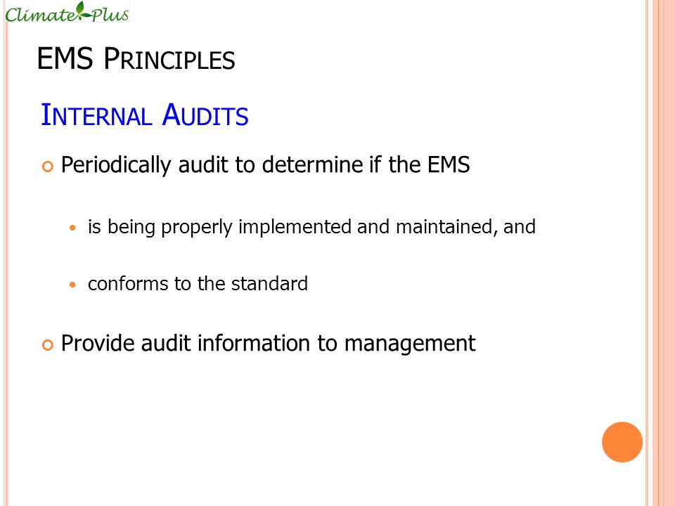 EMS Principles Internal Audits