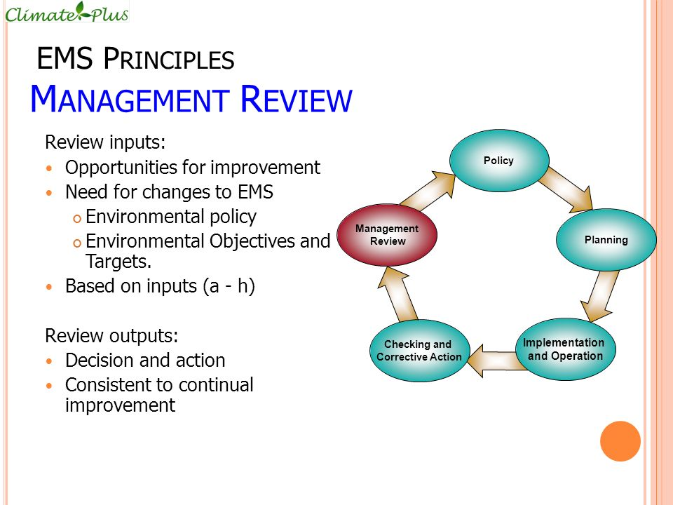 Management Review EMS Principles Review inputs: