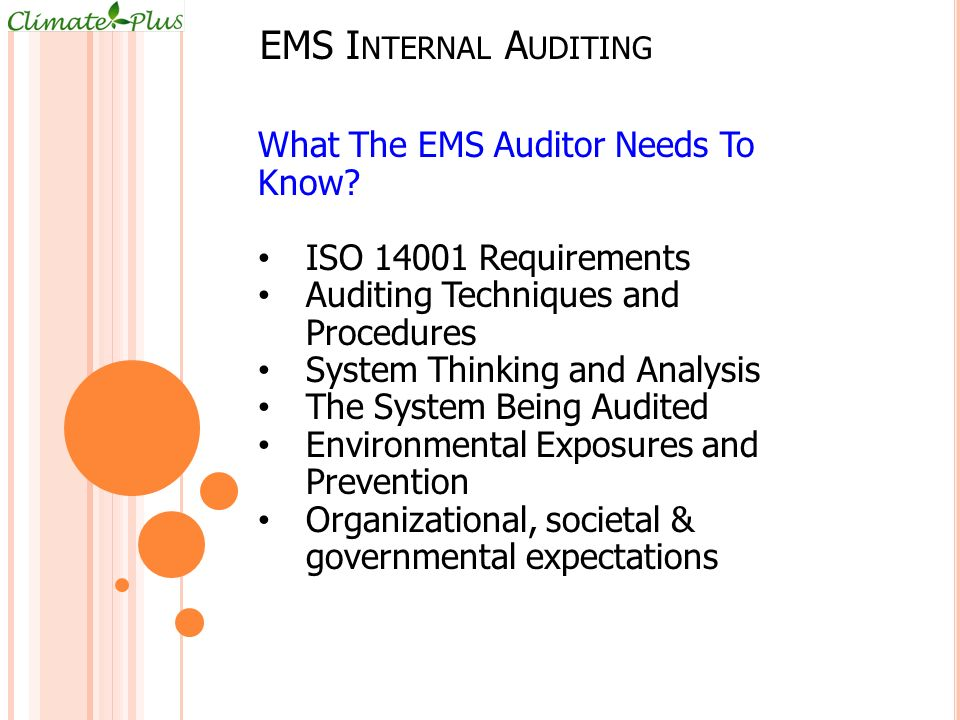 EMS Internal Auditing What The EMS Auditor Needs To Know