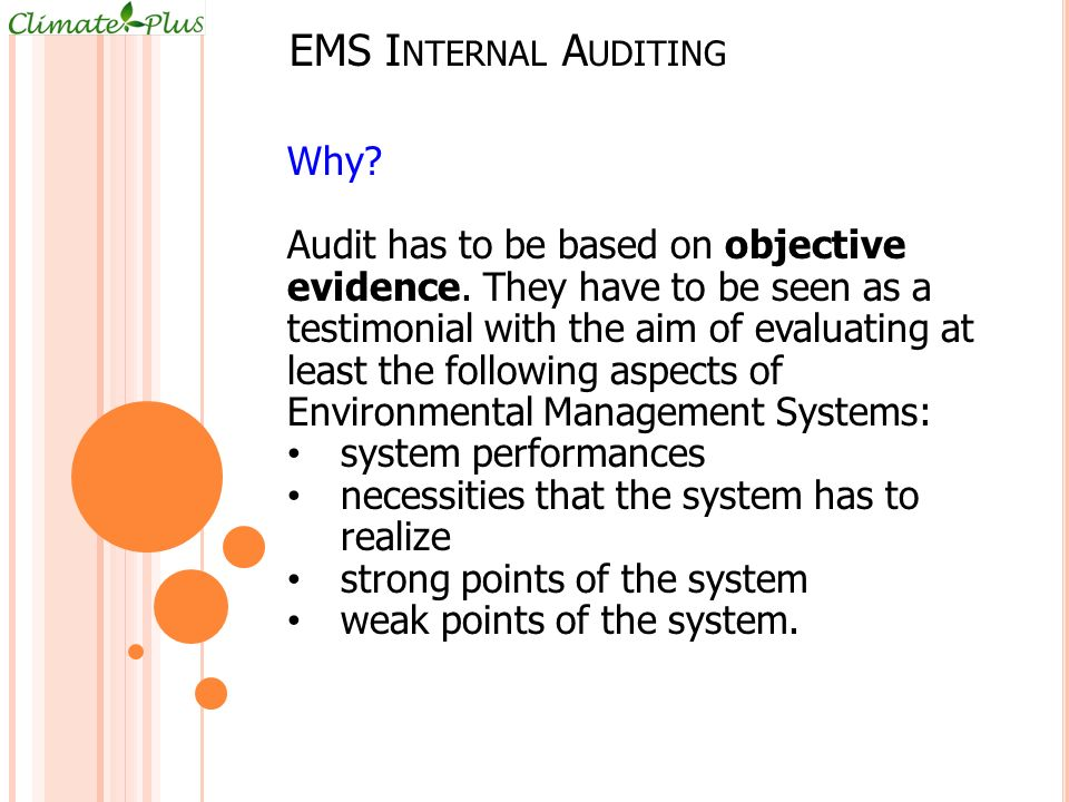 EMS Internal Auditing Why