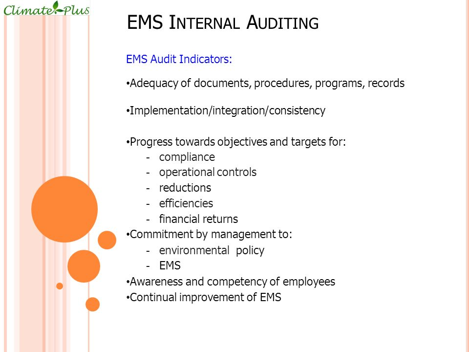 EMS Internal Auditing EMS Audit Indicators: