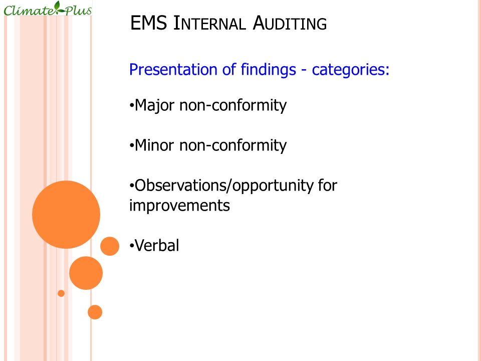 EMS Internal Auditing Presentation of findings - categories: