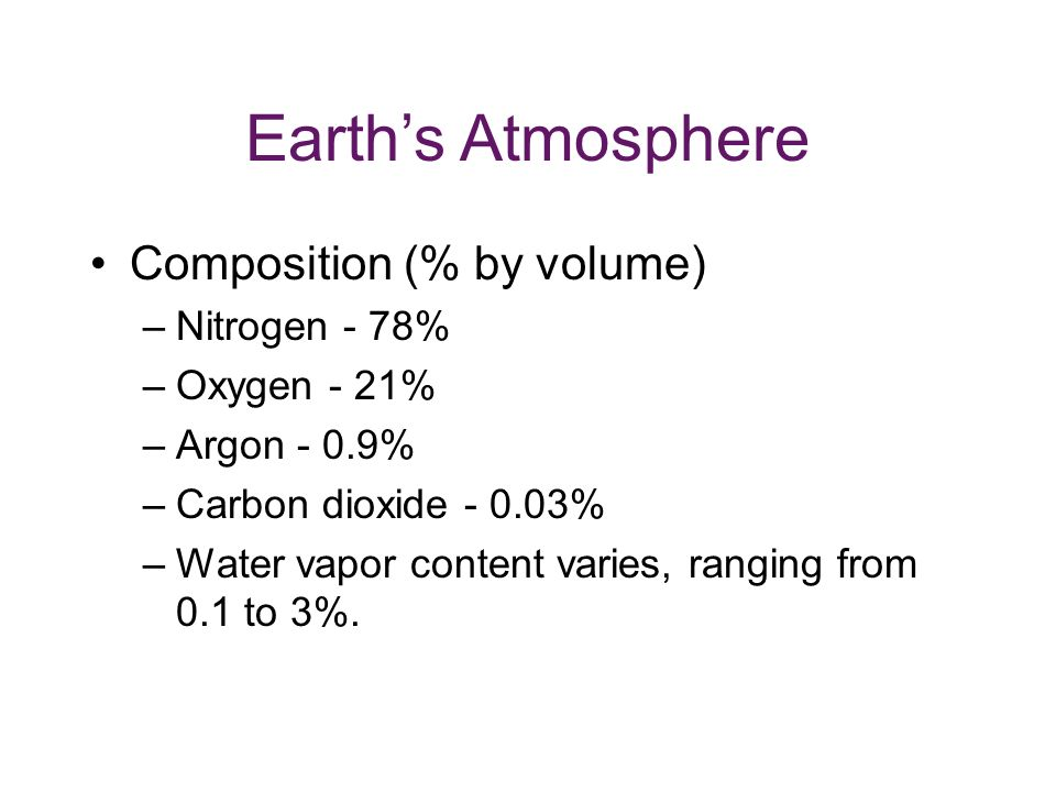 Earth's Atmosphere Composition (% by volume) Nitrogen - 78%