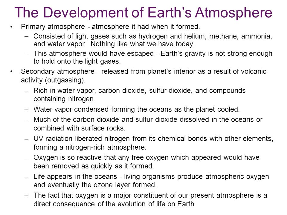 The Development of Earth's Atmosphere