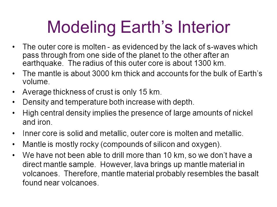 Modeling Earth's Interior