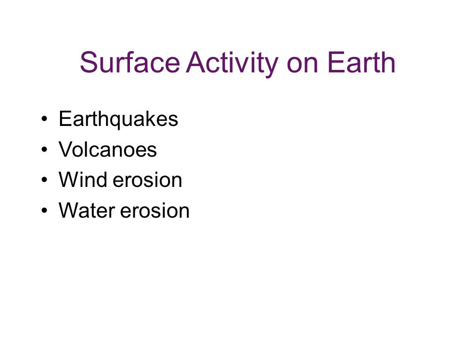 Surface Activity on Earth