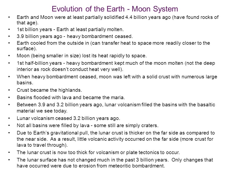 Evolution of the Earth - Moon System