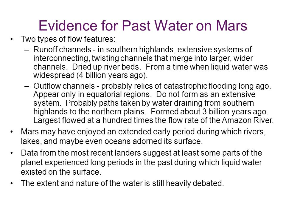 Evidence for Past Water on Mars