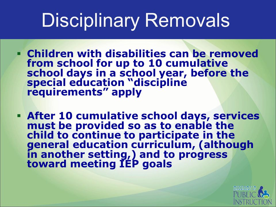 how to discipline students with disabilities There's nothing more difficult than having to discipline a child with emotional disability these children needs special attention rather than the reward-and-punishment method or giving disciplinary action as with any other regular child.