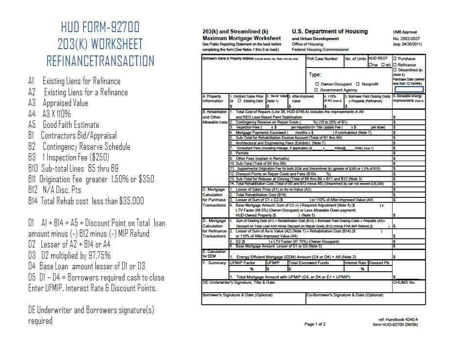 Fha streamline refinance worksheet 2013