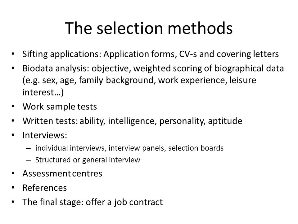 Human Resource Management Selection Methods  Ppt Download