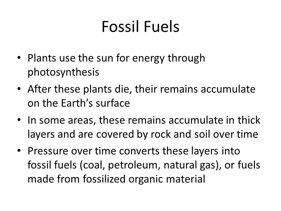 Fossil Fuels Plants use the sun for energy through photosynthesis