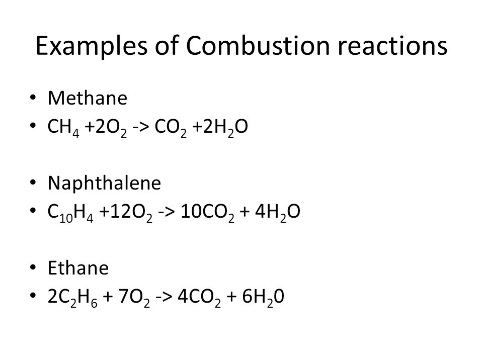 Examples of Combustion reactions