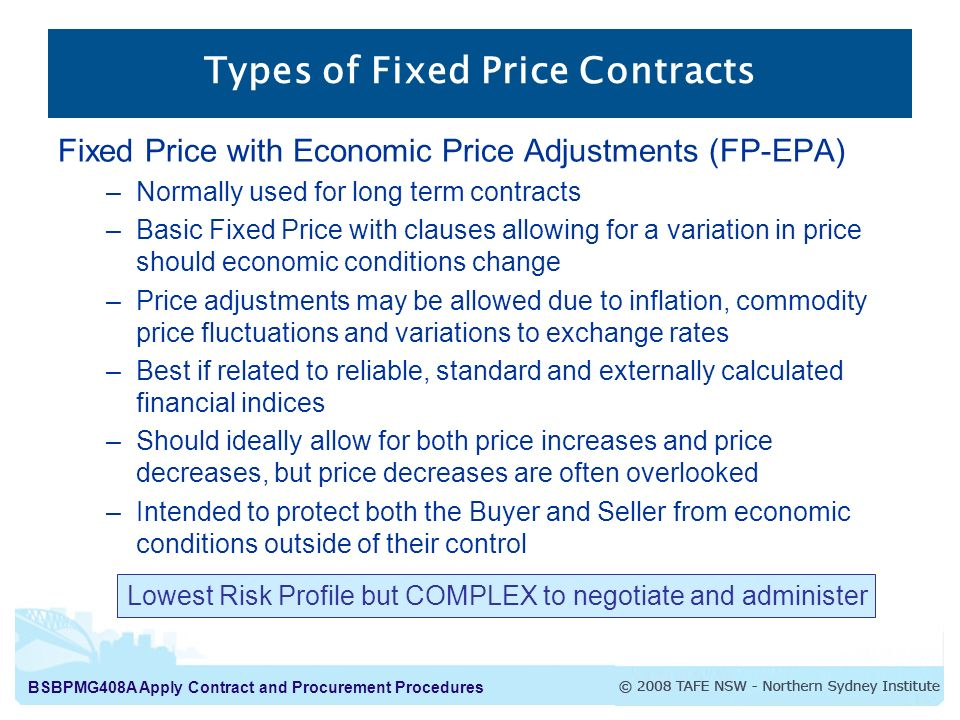Types of Fixed Price Contracts