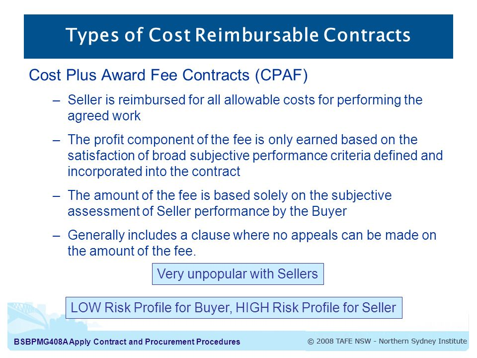 Types of Cost Reimbursable Contracts