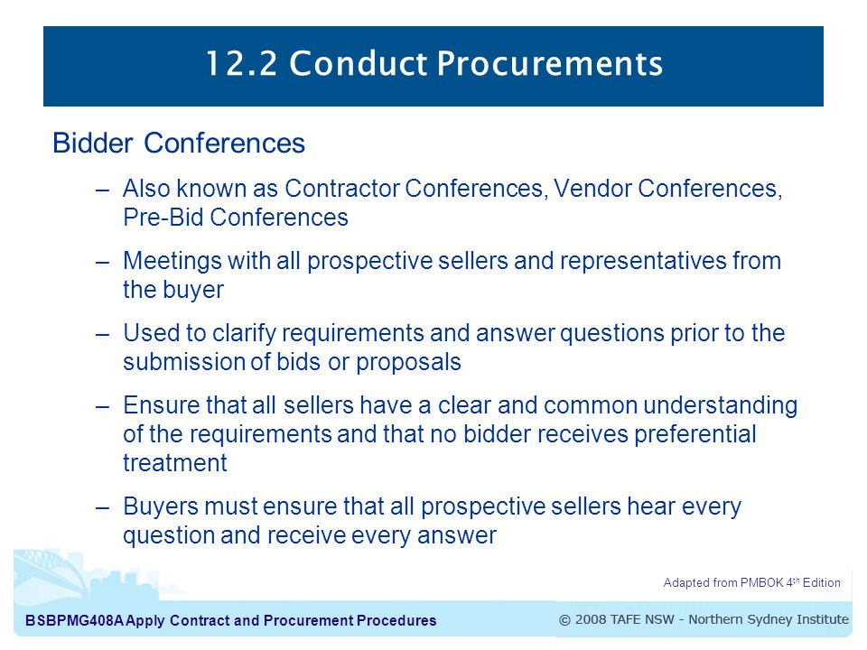 12.2 Conduct Procurements Bidder Conferences