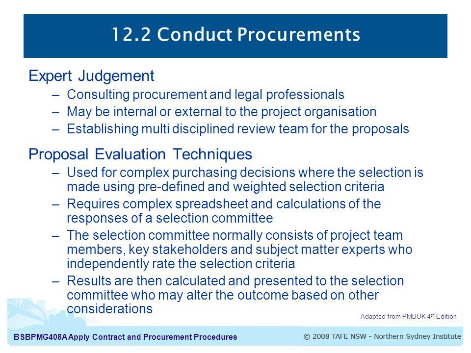 12.2 Conduct Procurements Expert Judgement