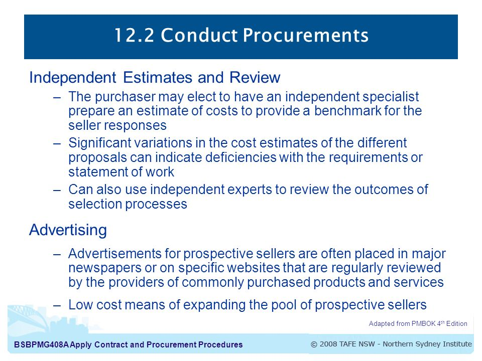 12.2 Conduct Procurements Independent Estimates and Review Advertising