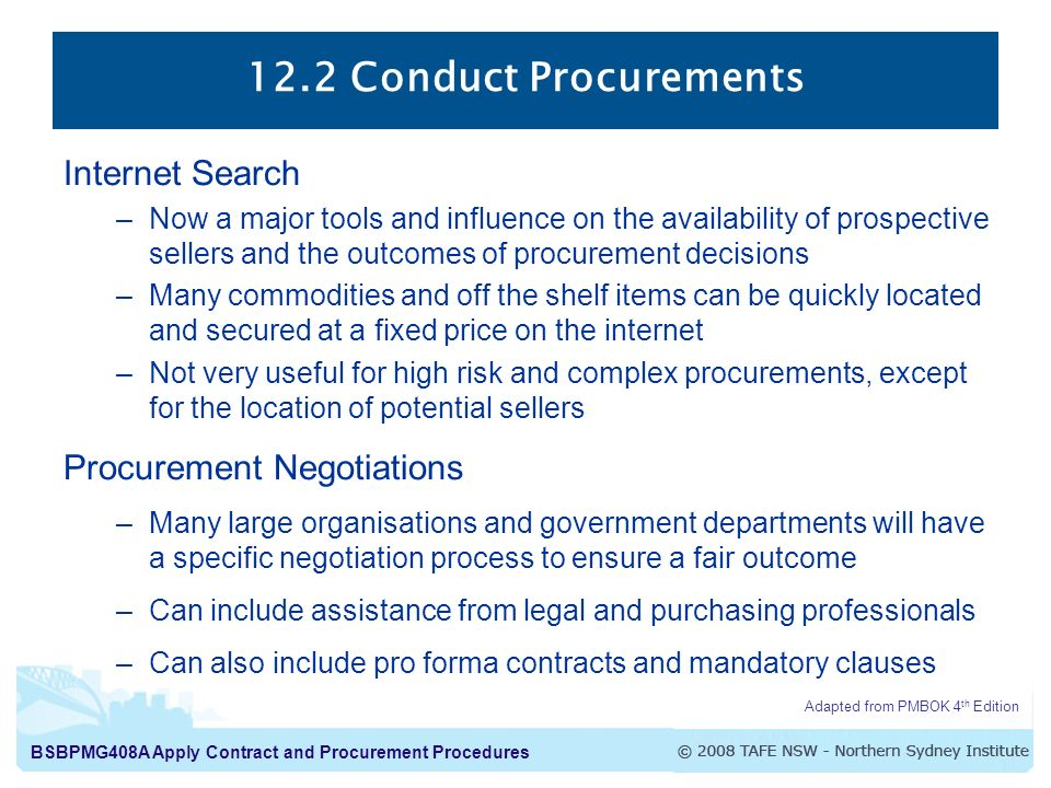 12.2 Conduct Procurements Internet Search Procurement Negotiations