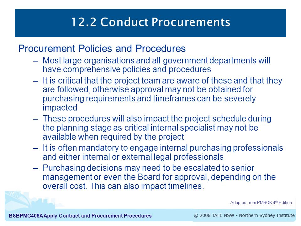 12.2 Conduct Procurements Procurement Policies and Procedures