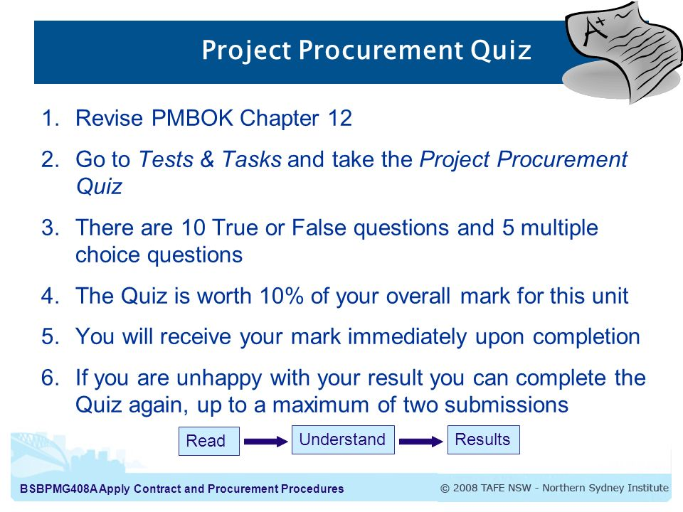 pm598 contract procurement quiz Nc3 exam exemplar questions mar2013  level 2 certificate in procurement  and  (a) a contract where the price has been quoted in writing by the supplier.