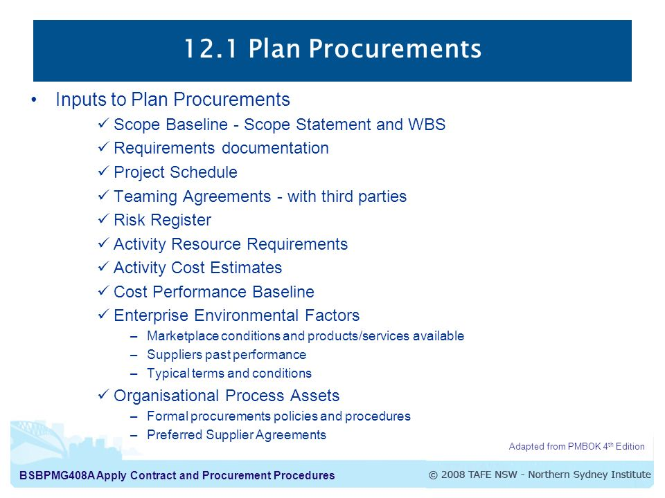 12.1 Plan Procurements Inputs to Plan Procurements
