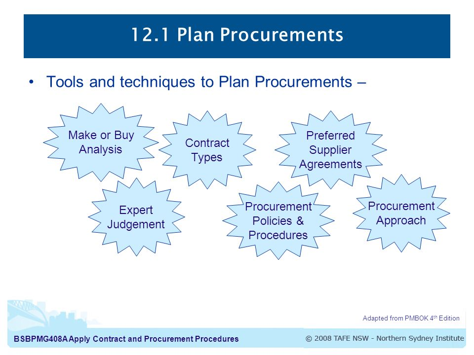 12.1 Plan Procurements Tools and techniques to Plan Procurements –