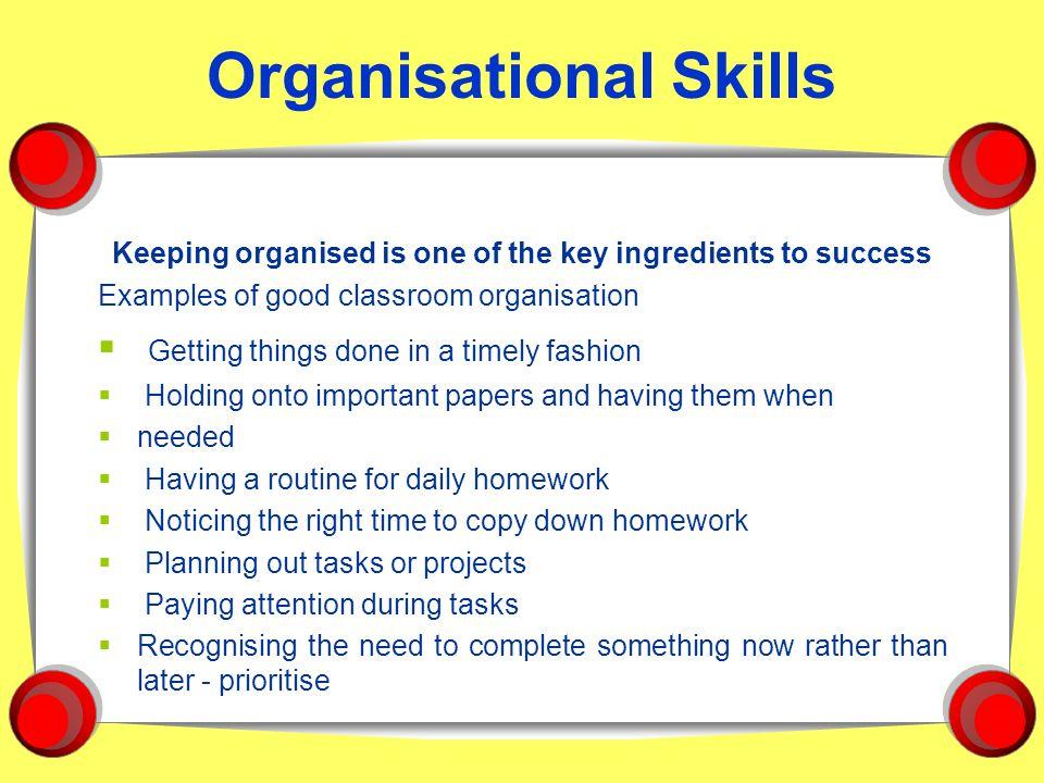 example of organizational skills