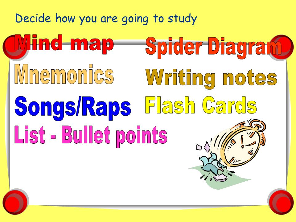 Study skills for school success ppt video online download mind map spider diagram mnemonics writing notes songsraps flash cards ccuart Images