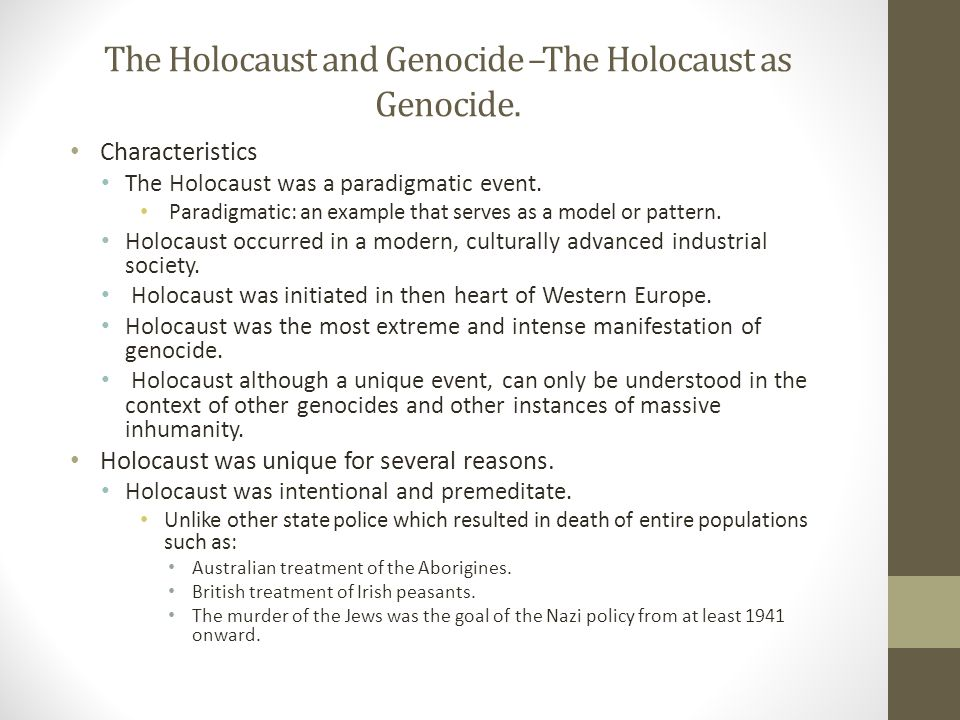 Comparing two instances of genocide