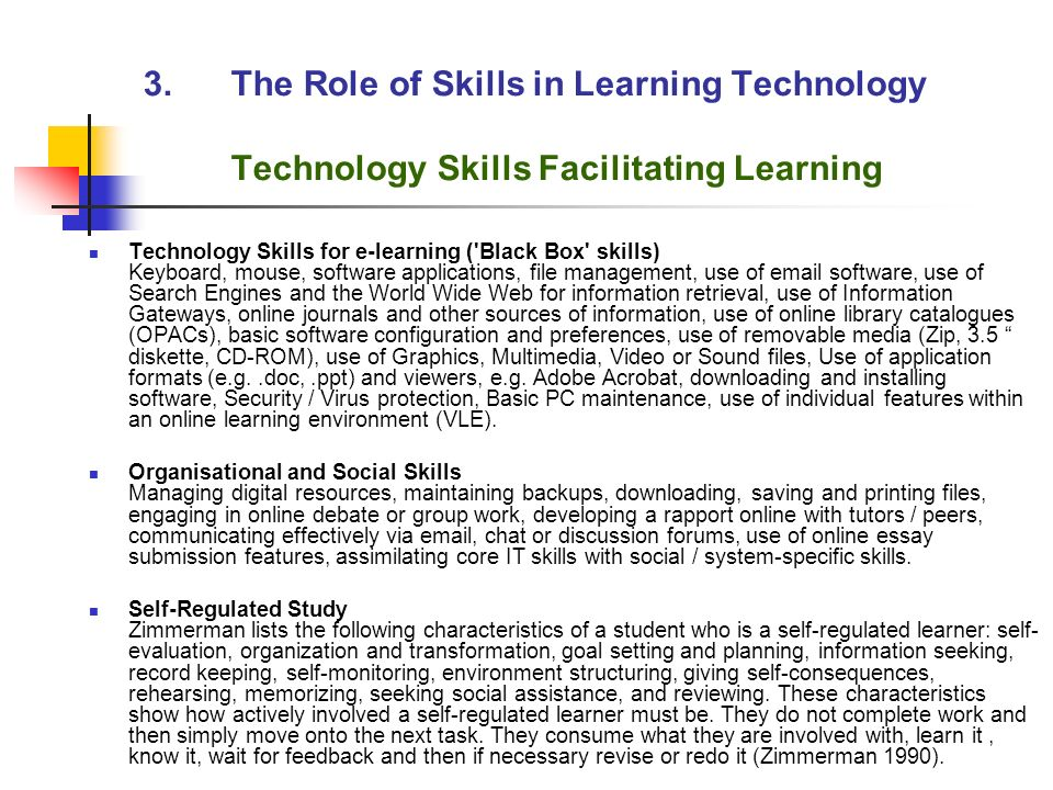 slef regulated learner essay Self-regulated learning in first and foremost, the self-regulated learner must understand what is required in response to student questions on the first essay.