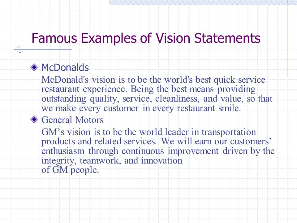 Vision mission statement resource management ppt video for Gm motors customer service
